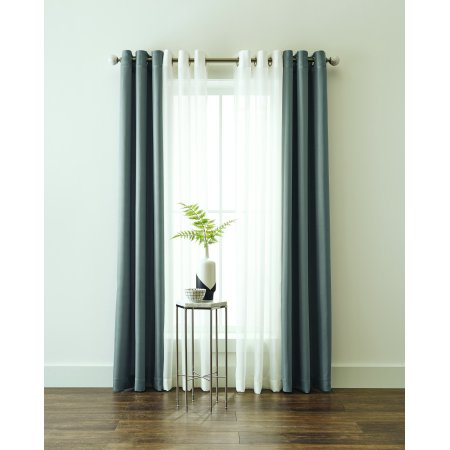 Better Homes and Gardens Textured Twill Weave and Sheer Window Curtain Panel 4 Piece - Halloween 4 Panel