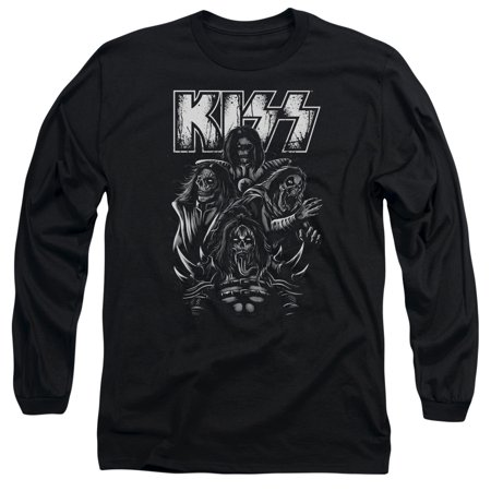 Kiss Hard Rock Metal Band Skeletons Adult Long Sleeve T-Shirt Tee