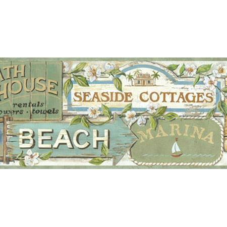 878590 Beach Signs Wallpaper Border BBC46023b