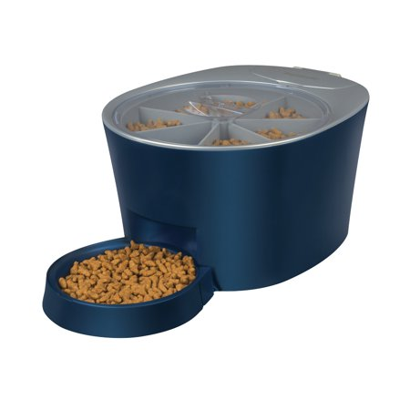 PetSafe Automatic 6 Meal Pet Feeder - Cat and Dog Food Dispenser - Great for Cats and Small Dogs Blue Pet Feeder