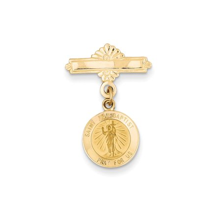 14k Yellow Gold Saint John the Baptist Medal Pin (Baptist Medal Pin)