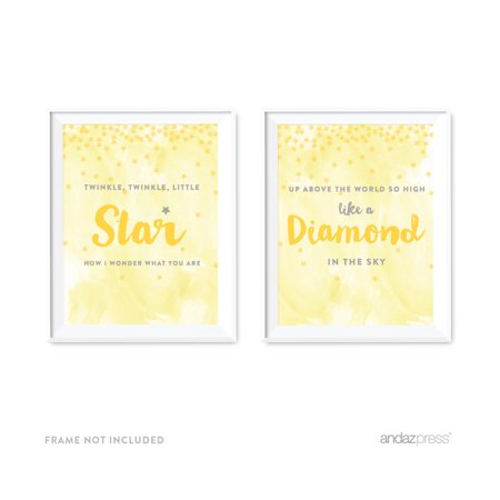 Andaz Press Nursery Kids Room Wall Art Decor, Lullaby Collection, Twinkle Twinkle Little Star, Yellow, 2-Pack Unframed](Yellow Star)