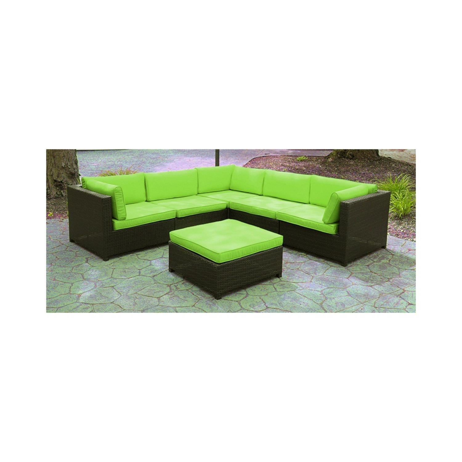 Black Resin Wicker Outdoor Furniture Sectional Sofa Set Lime Green Cushions by CC Outdoor Living