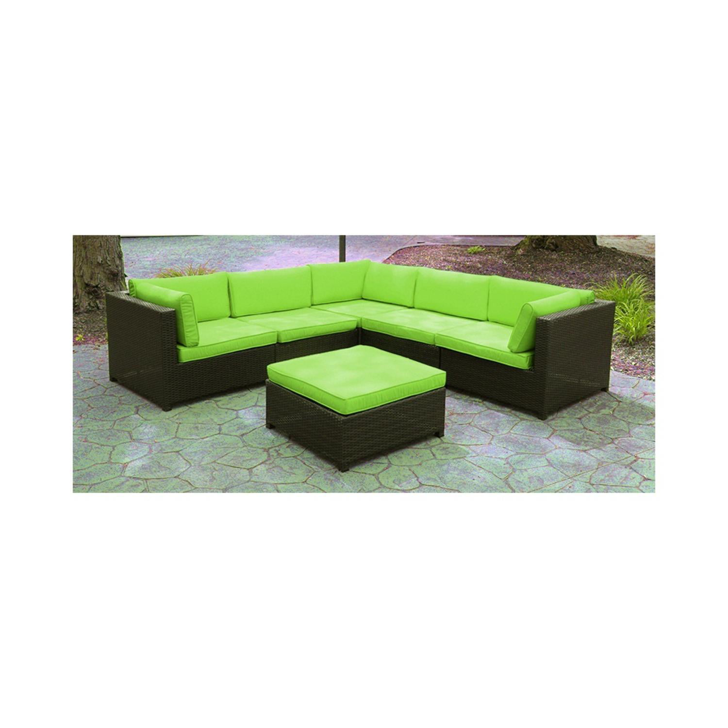 Black Resin Wicker Outdoor Furniture Sectional Sofa Set Lime Green Cushions by Resin Furniture