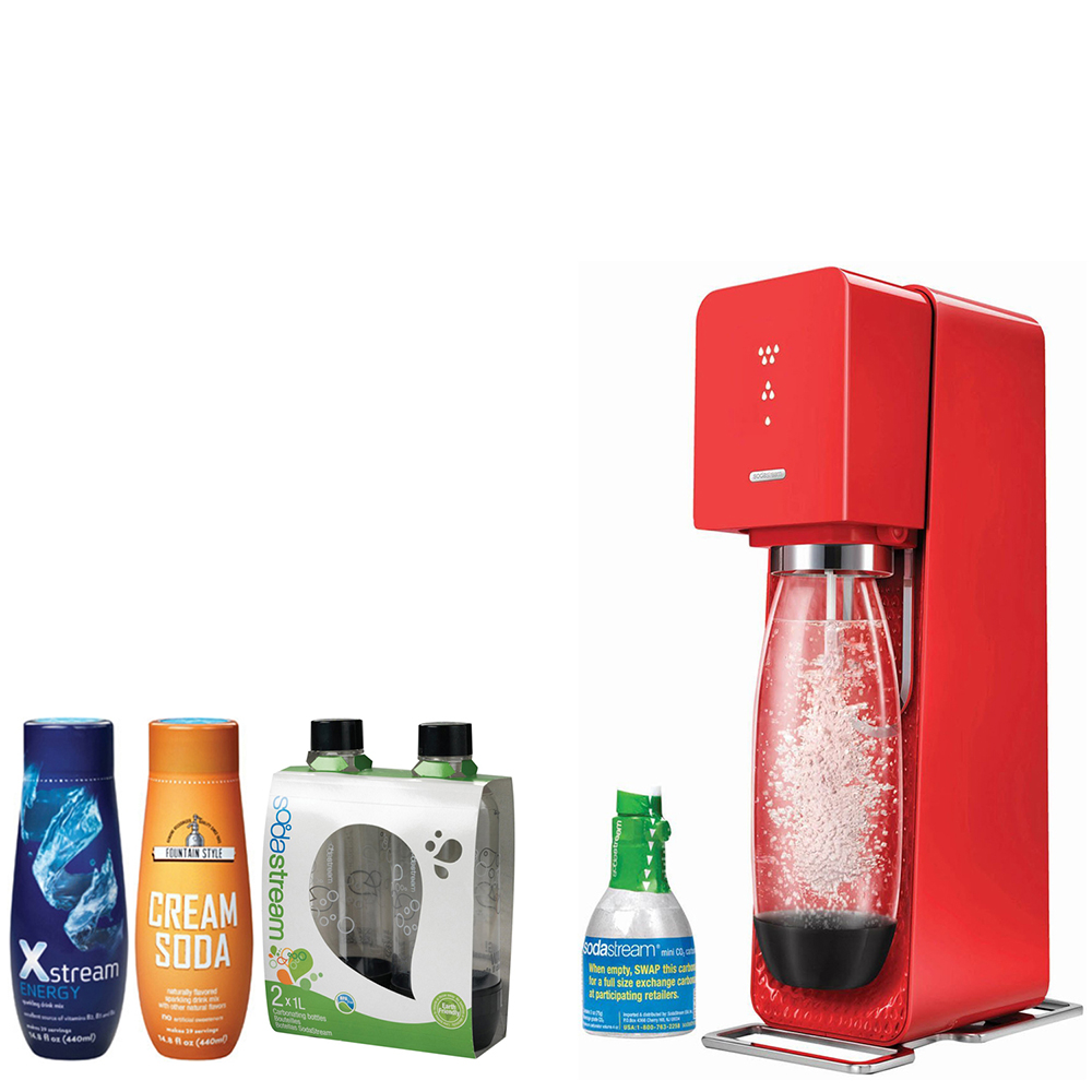 SodaStream Source Home Soda Maker Starter Kit, Red, 1L Carbonating Bottles Black, Xstream - Energy Drink, & Fountain Style - Cream Soda Flavor