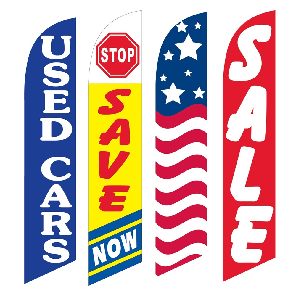 4 Advertising Swooper Flags Used Cars Save Now USA Sale