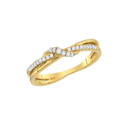 - 14kt Yellow Gold Womens Round Diamond Crossover Stackable Band Ring 1/6 Cttw