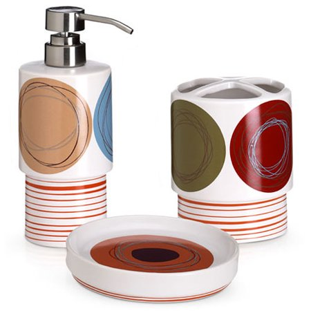 Dot Swirl 3 Piece Bath Accessory Set Walmart Com