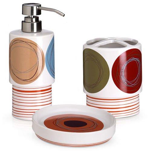 High Quality Dot Swirl 3 Piece Bath Accessory Set