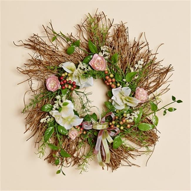 Harvest of Barnstable BMW12 12 inch Natural Twig Wreath With Pink Silk Decor