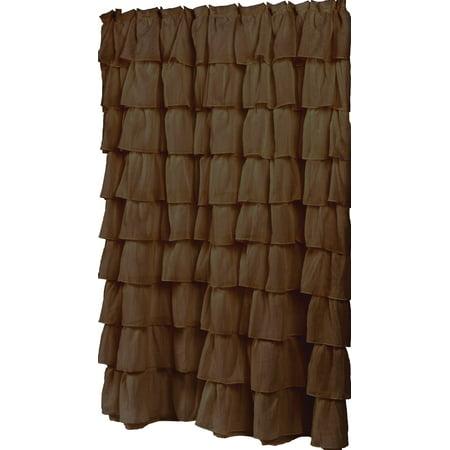 Royal Bath Carmen Brown Ruffled Tier 100 Polyester Fabric Shower