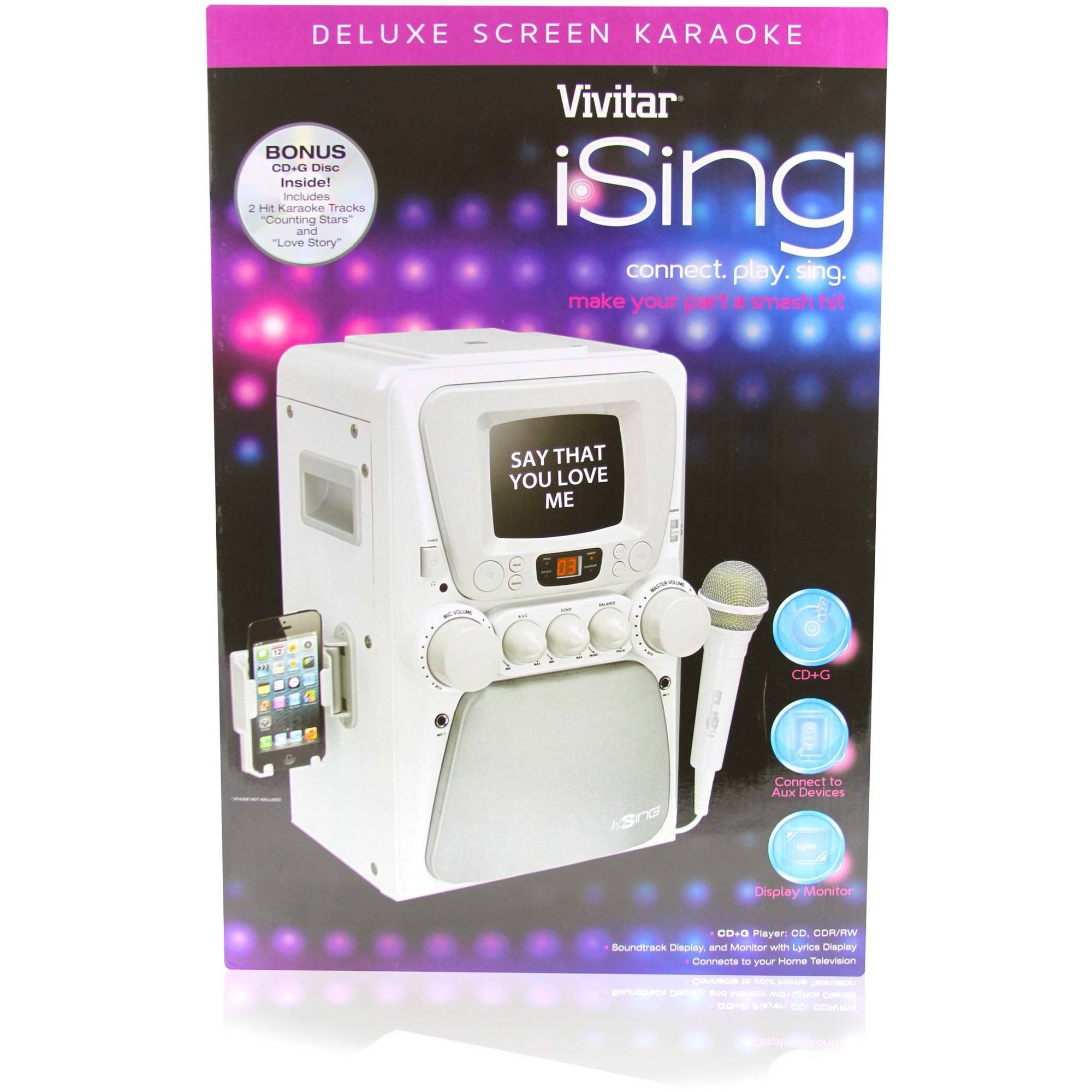 iSing Deluxe Karaoke Machine with Screen, White