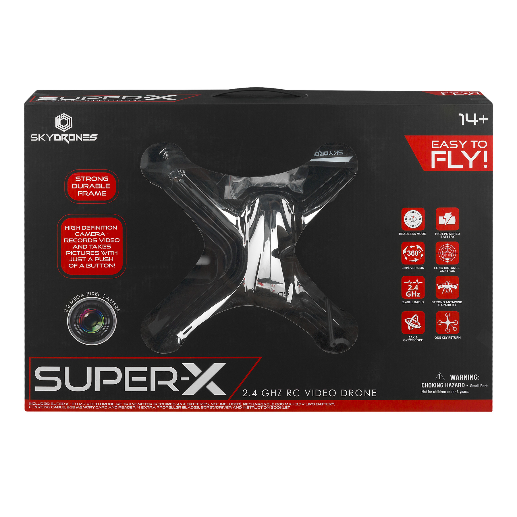 Sky Drones Super-x 2.4GHZ RC Video Drone, 1.0 CT