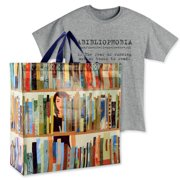 Women's Book Lover's Gift Set Book Tote Bag And Abibliophobia T-Shirt