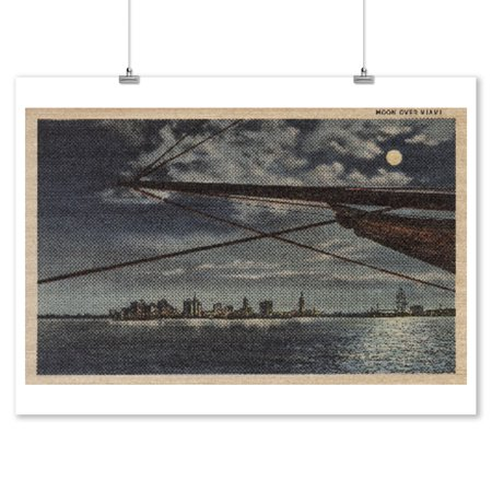 Miami, Florida - Moonlit View of City Over Water (9x12 Art Print, Wall Decor Travel Poster)](Party City Miami Florida)
