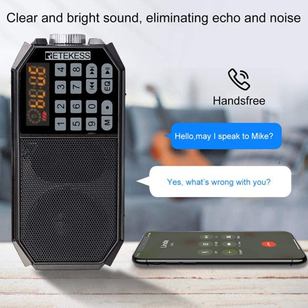 Retekess TR610 Bluetooth Speaker with FM Radio Portable Wireless Speaker MP3 Player Support Handfree Loop Playback - image 5 de 5