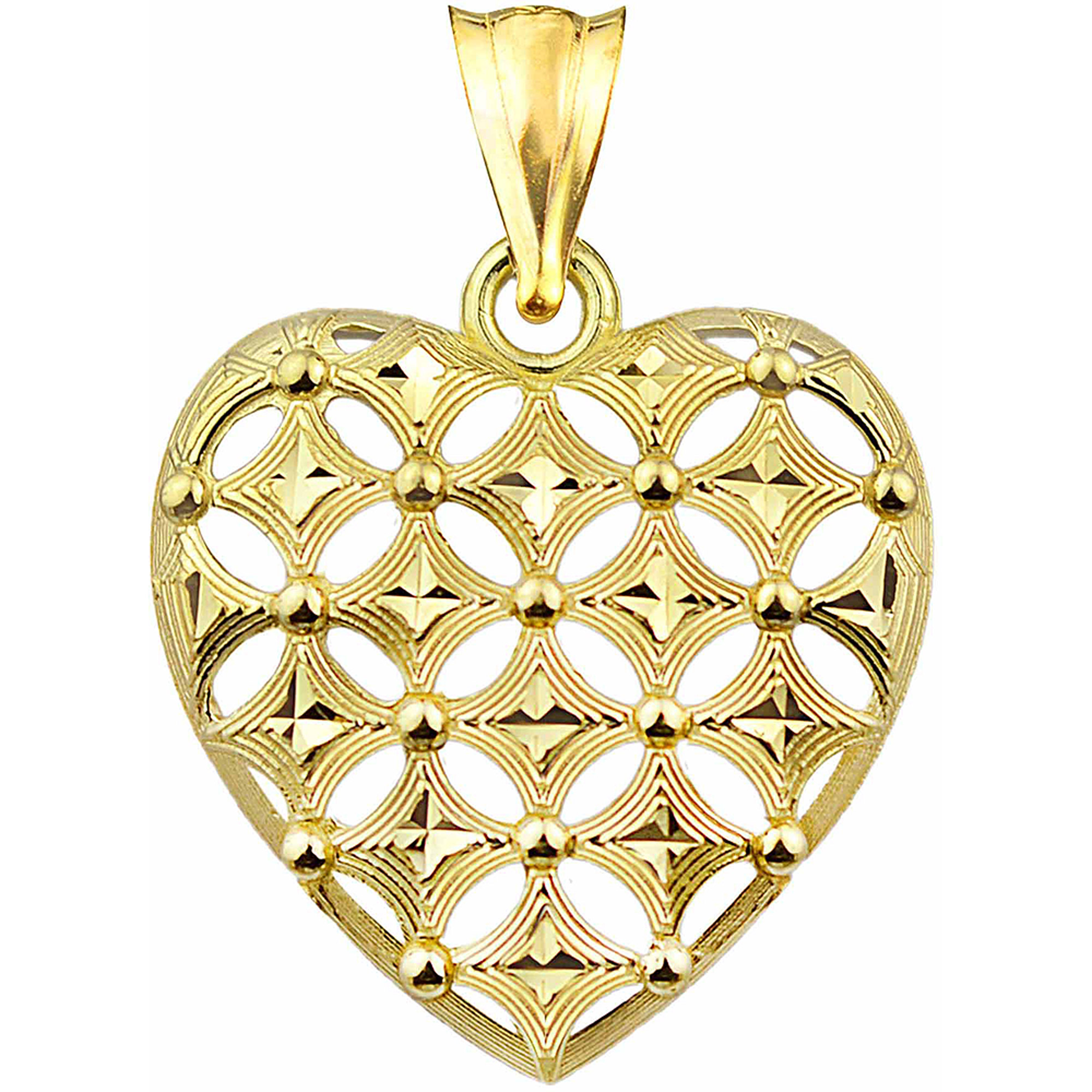 US GOLD 10kt Gold Diamond-Cut Heart Charm Pendant