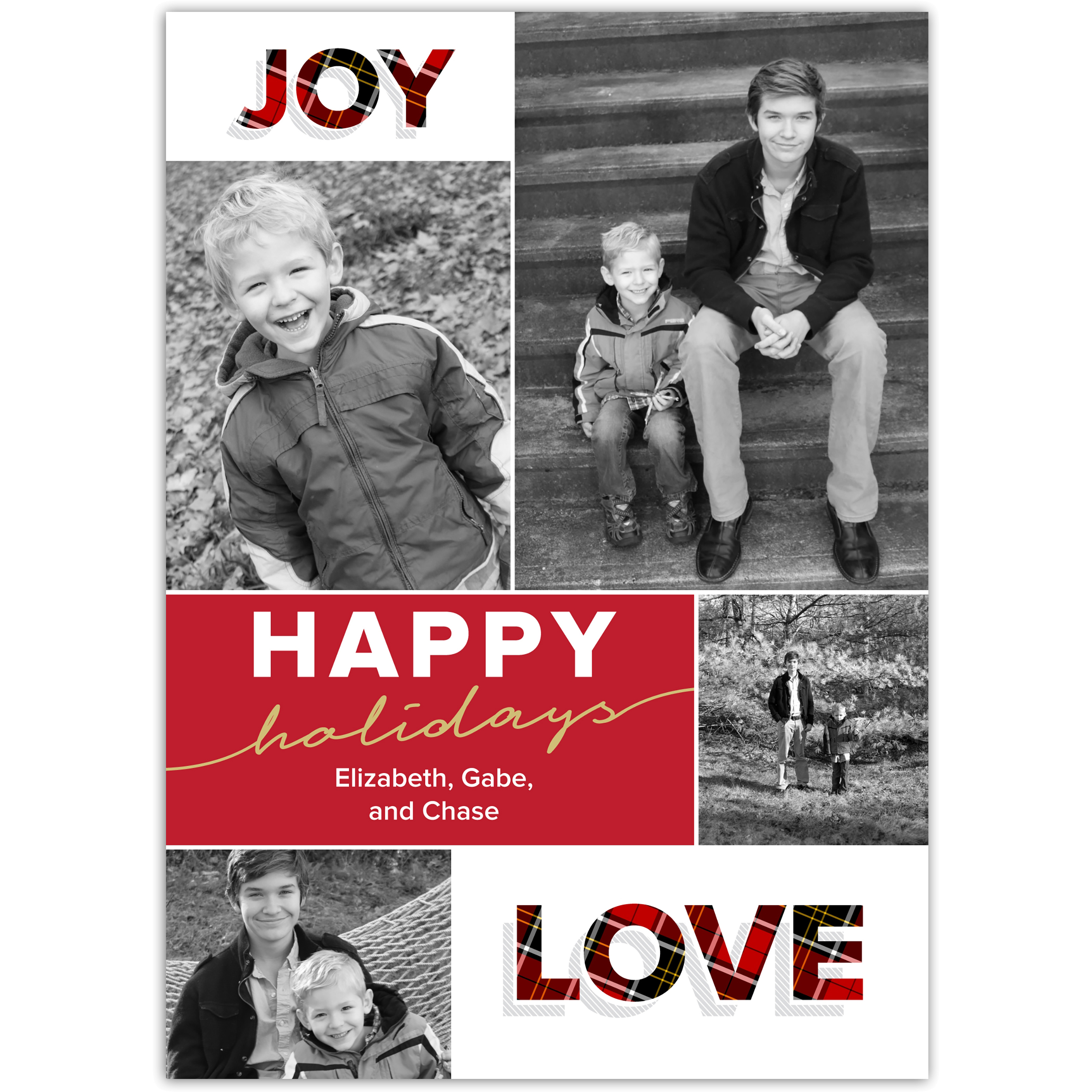 Joy Love Peace - 5x7 Personalized Holiday Card