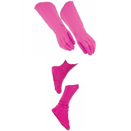 Child Superhero Pink Shoe Covers Boot Tops and Gauntlet Gloves Costume Kit (Costume Gauntlets)