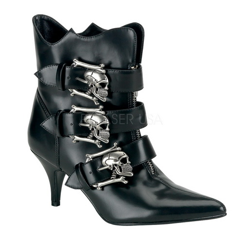 "Demonia FURY-06 2 3 4"" Goth Punk Witchy Ankle Boot with Silver Skull Buckle-Blk Nappa Vegan Leather-11 by PleaserUSA"