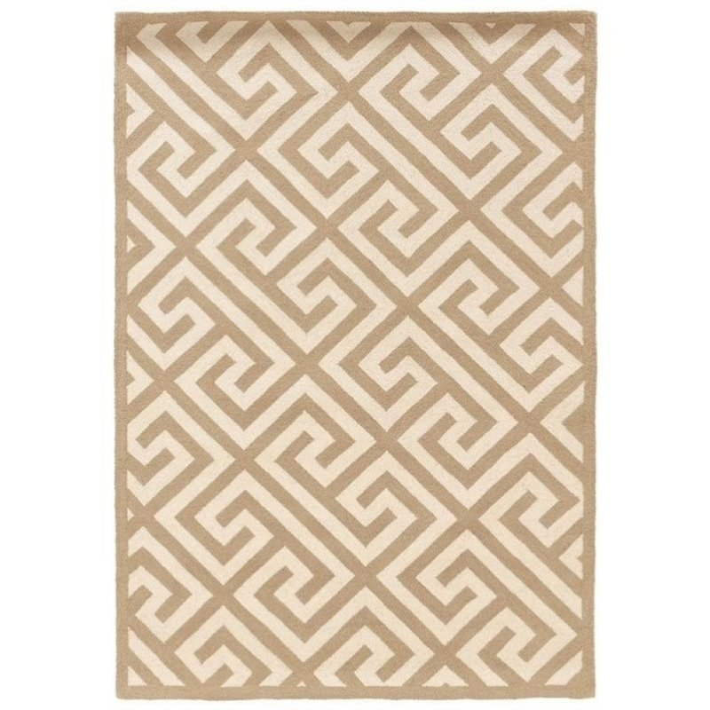 Hawthorne Collection 5' x 7' Hand Hooked Key Wool Rug in Beige