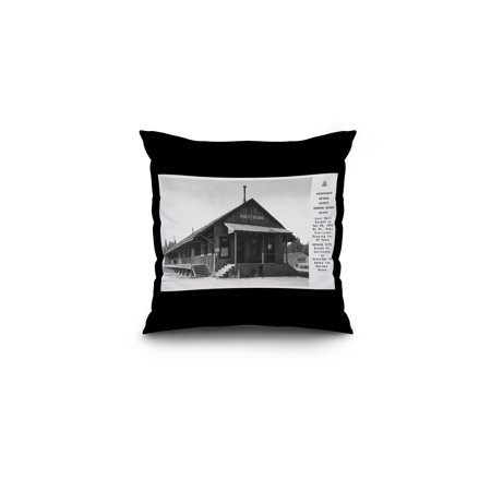 The Narrow Gauge (Nevada City, California - Exterior View of the Narrow Gauge Depot (16x16 Spun Polyester Pillow, Black Border))