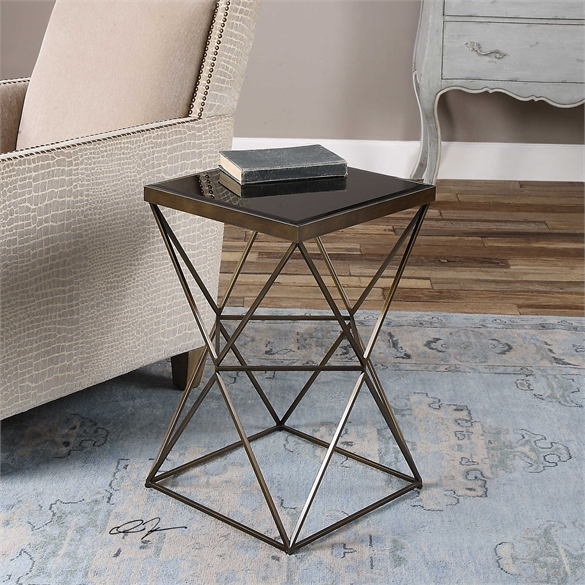 Ambient Caged Frame In Antique Bronze Finished Steel With Beveled Black Tempered Glass Top Caged Frame Accent Table