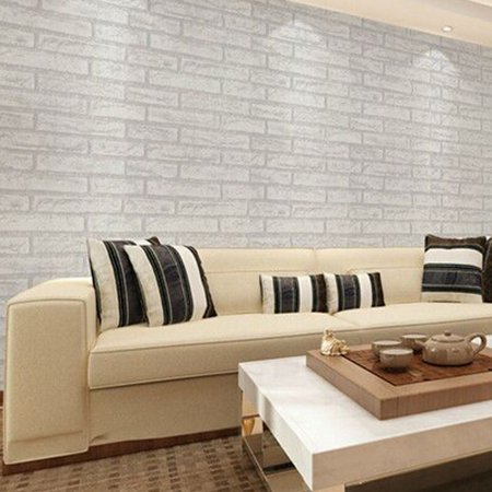 Fancyleo 2 Pcs Stone Wallpaper, PVC 3D Effect Blocks Peel and Stick Wallpaper for Home Decoration