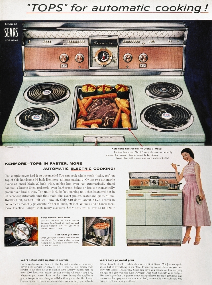 Stove Advertisement 1957 Ntops For Automatic Cooking A Sears Kenmore Electric Range From An American M Walmart Com