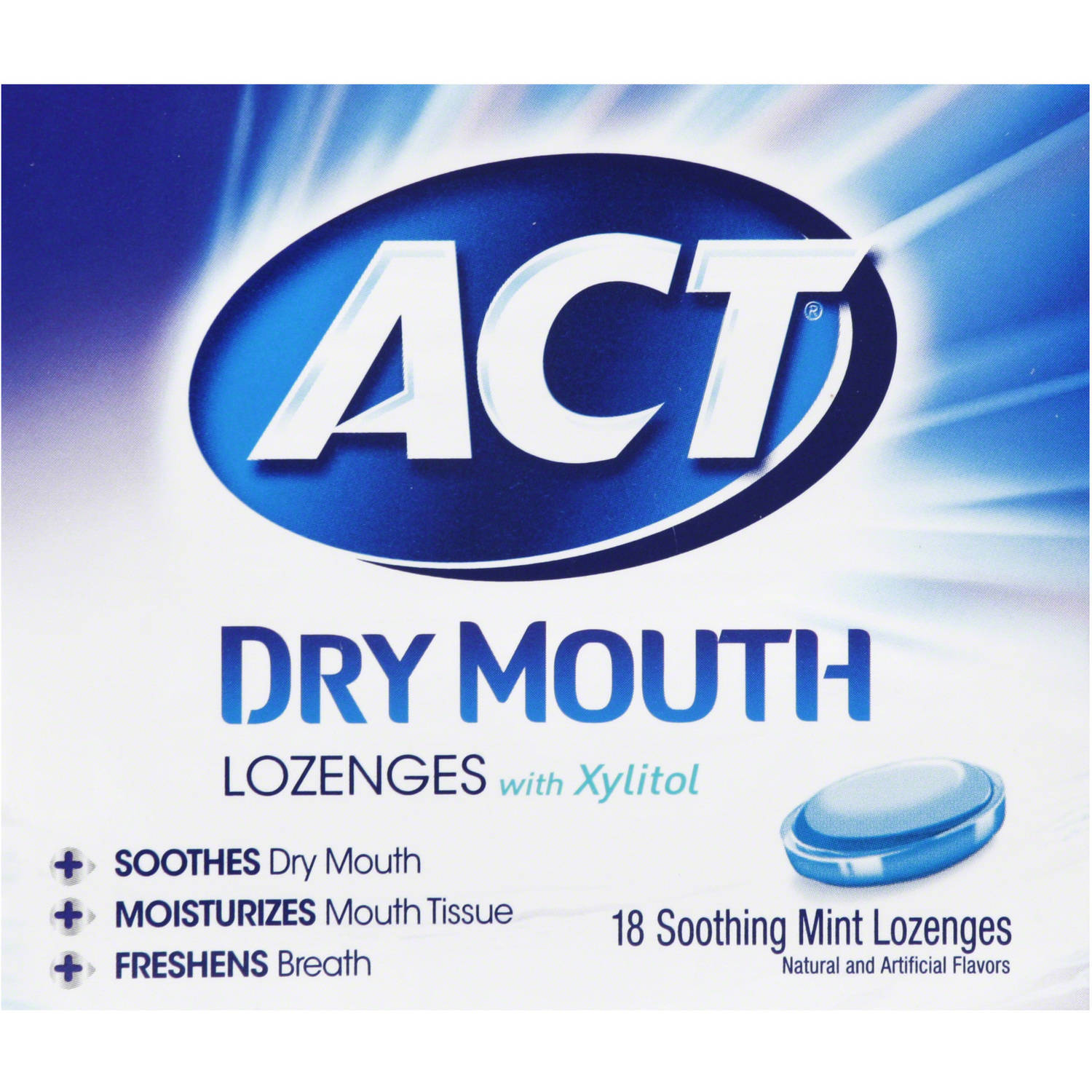 ACT Total Care Soothing Mint Dry Mouth Lozenges, 18 count