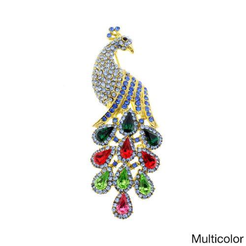 Fantasyard Vintage Crystal Peacock Brooch by Overstock