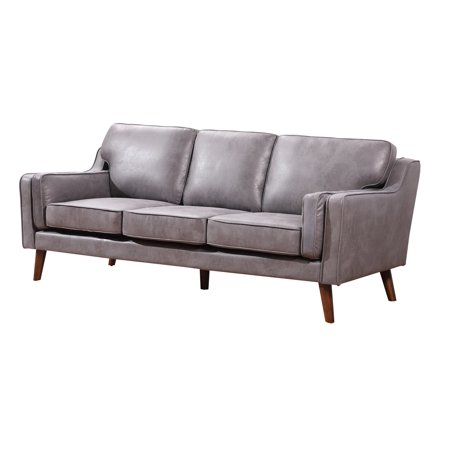 Us Pride Furniture San Francisco Modern Luxurious Faux Leather Sofa Gray