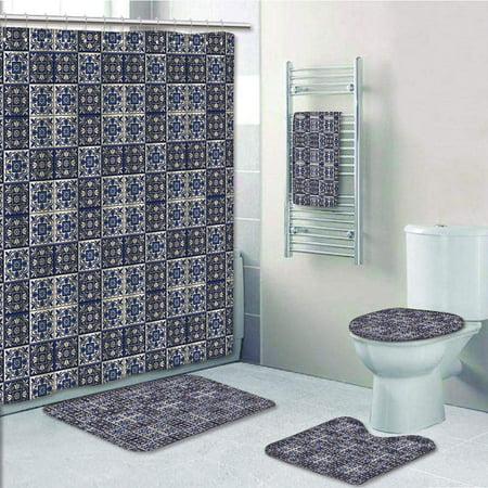 EREHome Moroccan Squares with Portuguese Azulejo Ornaments Arrangement Floral Leaves 5 Piece Bathroom Set Shower Curtain Bath Towel Bath Rug Contour Mat and Toilet Lid Cover - image 1 of 2