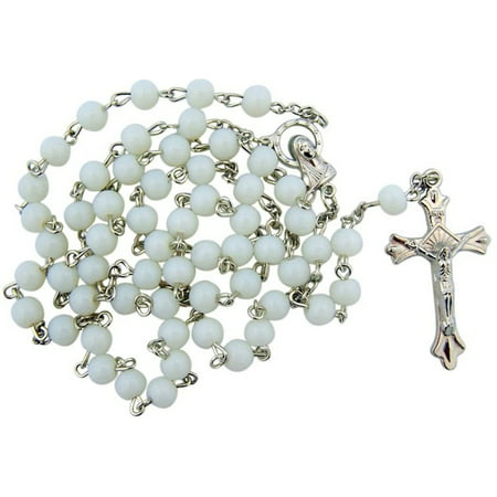 Womens Girls White Acrylic Prayer Bead Rosary with Madonna Centerpiece, 20 Inch (Wearing Rosary Beads)