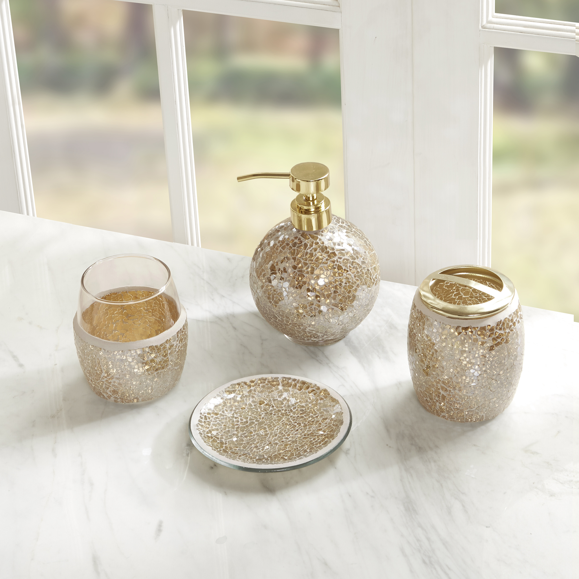 Home Essence Mosaic Four Piece Bath, Madison Park Bathroom Accessories