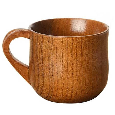 Stylish Wooden Handled Cup Coffee Tea Beer Juice Milk Mug Jujube Wood Cups Gift Decoration Volume:165ml - Wool Gifts