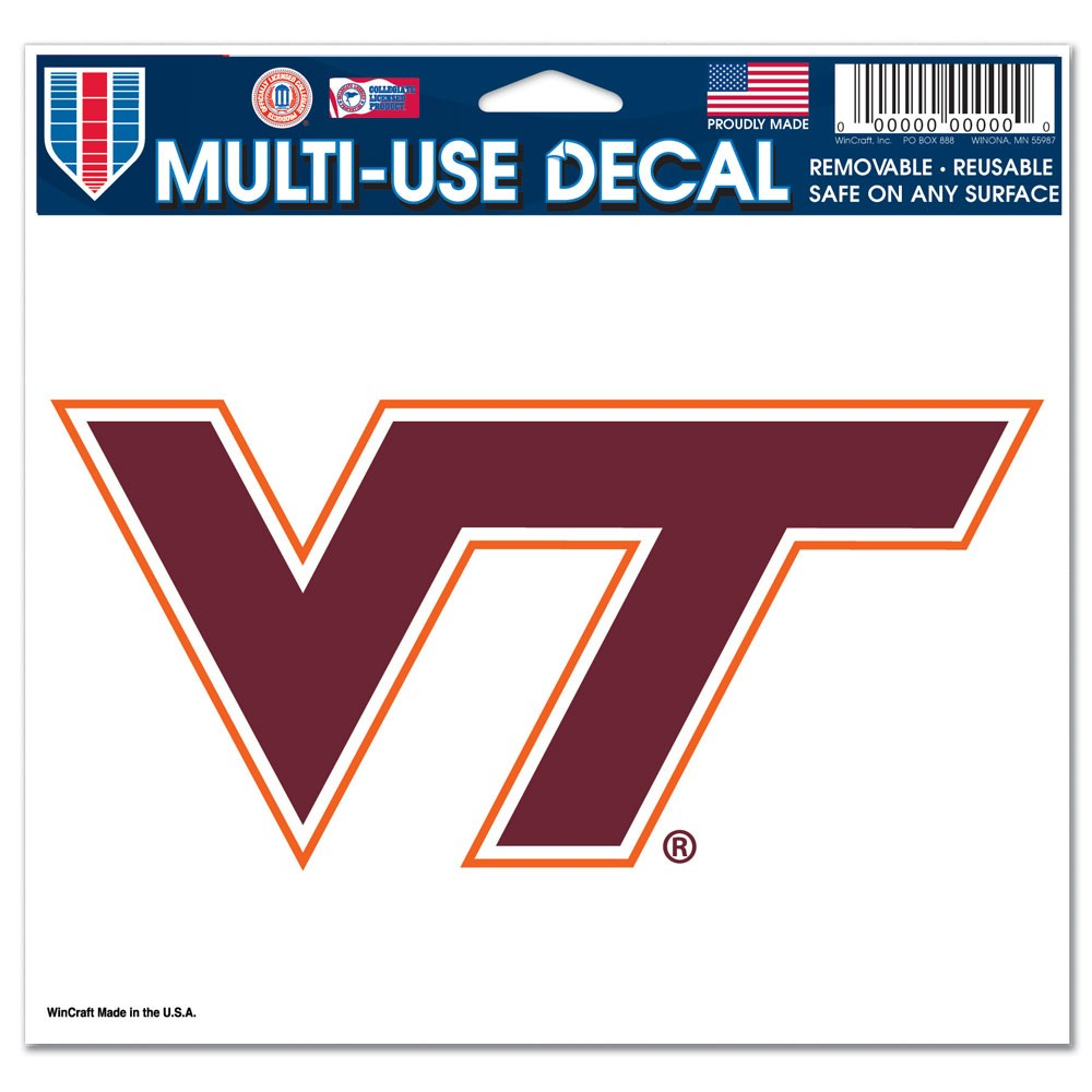 Virginia Tech Hokies Official NCAA 4 inch x 6 inch Car Window Cling Decal by WinCraft
