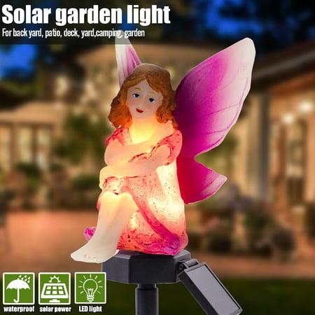 Solar Garden Stake Lights Angel Shape LED Lawn Decoration Light Landscape Lighting Resin Flower Fairy Statue Ornament Lamp Pathway House Decor Manor House Landscape Lighting