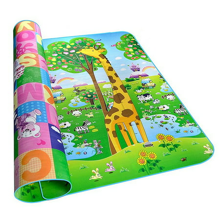 Baby Kids Play Mat Picnic Cushion Crawling Mat with Two Sides Large Playing Playmats Activity Pad Giraffe Shaped Foam Non-Toxic