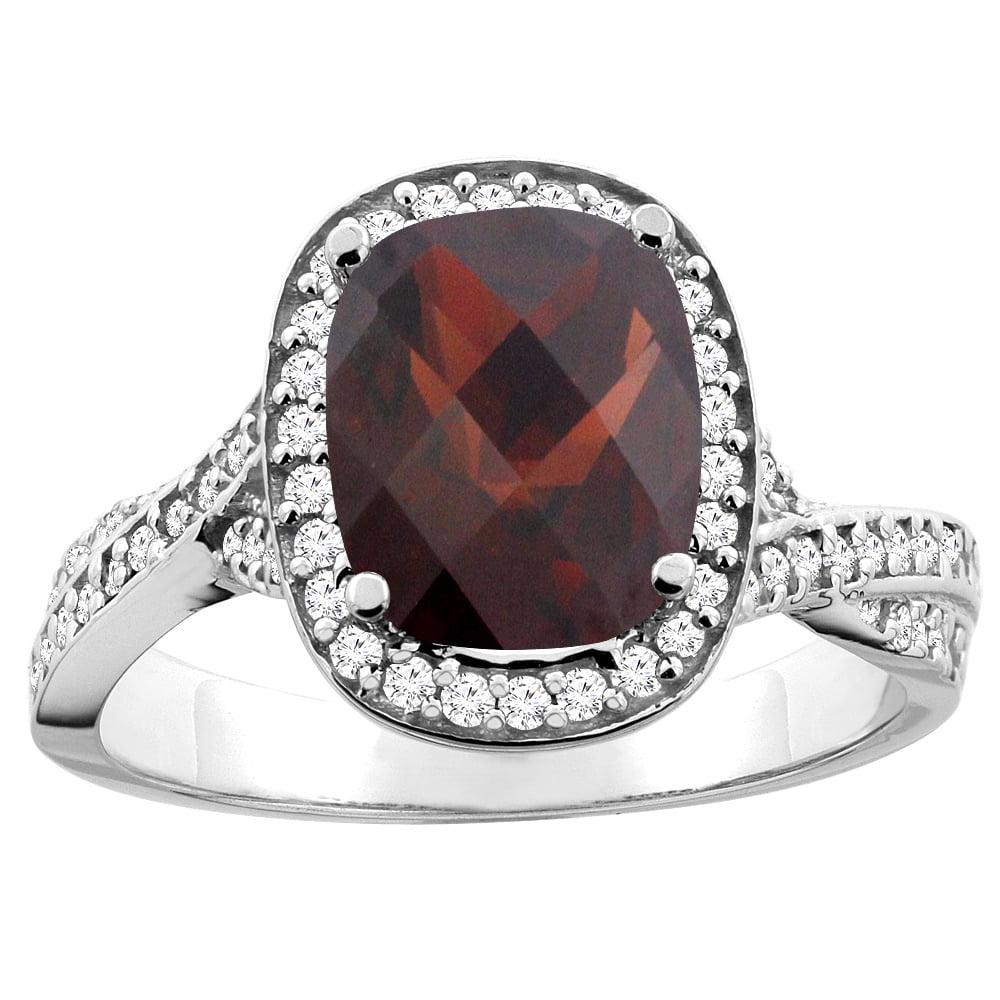 14K White Gold Enhanced Ruby Halo Ring Cushion 9x7mm Diamond Accent, size 10 by Gabriella Gold