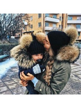 2PCS Mommy and Me Hat Winter Warmer Mother & Baby Daughter/Son Parent-Child Winter Warm Knit Hat Family Crochet Beanie Ski Cap