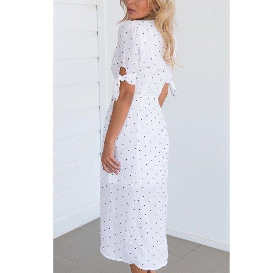 afb4b0f30e Hirigin - Womens Boho Floral Short Sleeve Summer Dot V-neck Sexy White  Beach Dress - Walmart.com