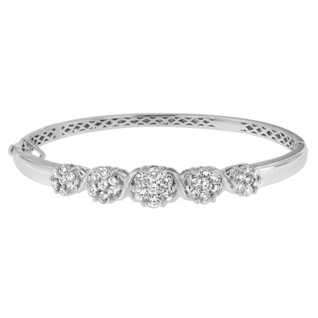 14K White Gold 2.5 ct. TDW Round-Cut Diamond Floral Bangle Bracelet (Tdw Diamond Bangle)