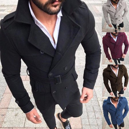 Winter Men Pea Coat Double Breasted Wool Blend Jackets Trench Coat Reefer