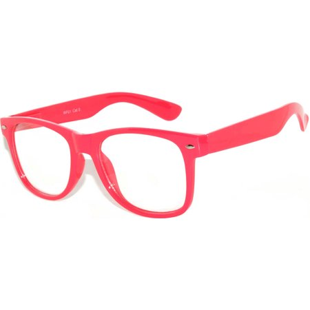 One Pair Retro 80's Vintage Party Sunglasses hot Pink Frame Clear Lens - Pair Clear Lens