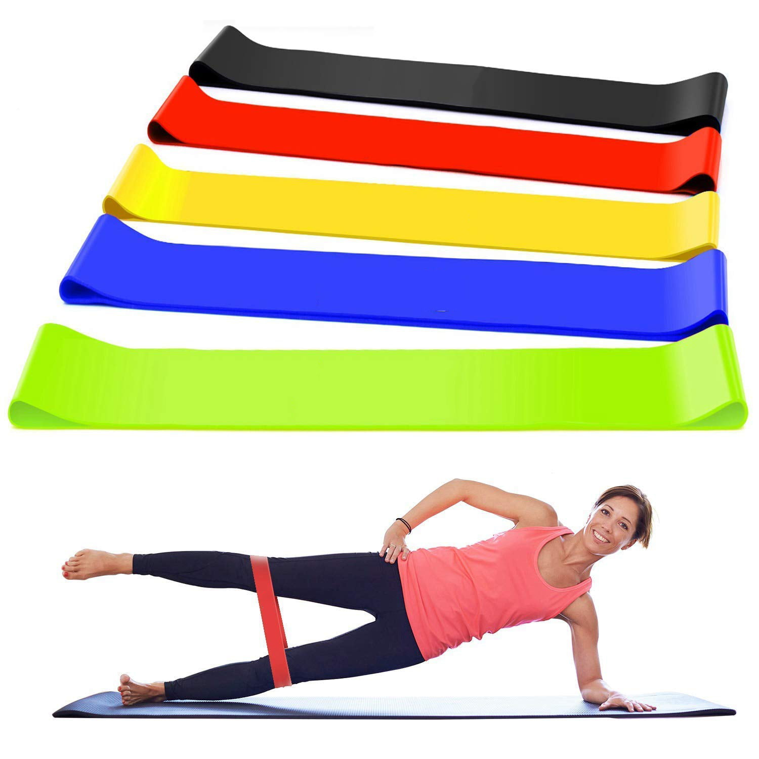 Loop Bands Fitness Resistance Bands Set of 5 Exercise Gym Workout From Home