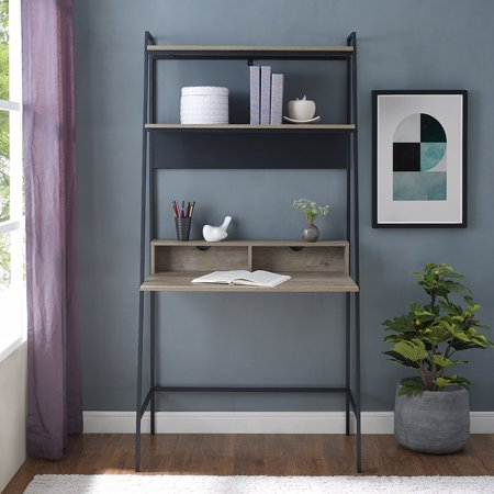 Manor Park Modern Metal and Wood Ladder Computer Desk - Grey Wash