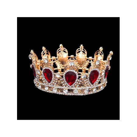 King Crown For Sale (Antique 6cm High Sparkling Crystal Gold King Crown Tiara Wedding Prom)