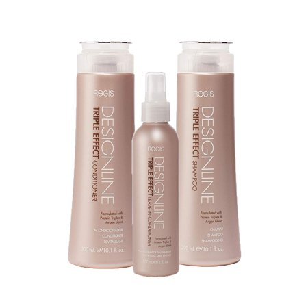 Triple Effect Shampoo and Conditioner Trio Kit - Regis DESIGNLINE - Sulfate Free Argan Oil and Keratin bundle for Normal or Dry Hair - Hair Care Bundle