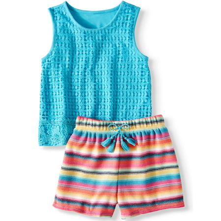 Crochet Tank Top and Tassel Short, 2-Piece Outfit Set (Little Girls, Big Girls & Plus) - Cool Anime Girl Outfits